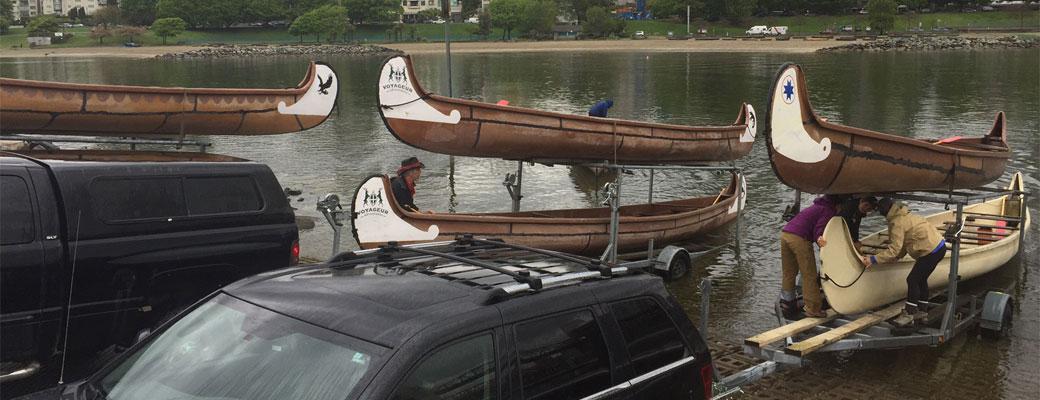 Voyageur Adventures Fleet Unloading Canoes
